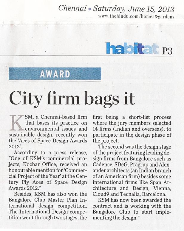 KSM Architecture-The Hindu-Habitat-Bangalore Club Masterplan Award